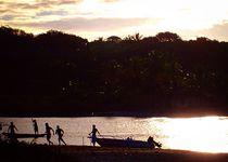 Soccer on the river at sunset - Caraiva, Bahia, Brazil. by Ro Mokka