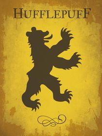 Hufflepuff harry potter flag house emblem von Goldenplanet Prints