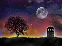 Doctor who tardis night sky art print von Goldenplanet Prints