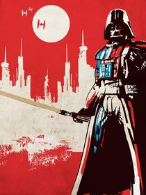 Vintage star wars movie inspired darth vader art print von Goldenplanet Prints