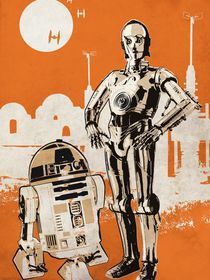 Vintage star wars movie inspired r2d2 and c3po art by Goldenplanet Prints