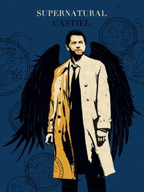 Castiel supernatural tv serie inspired  by Goldenplanet Prints