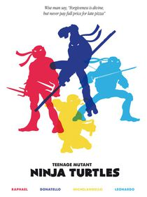 Ninja Turtles minimalist art movie inspired von Goldenplanet Prints