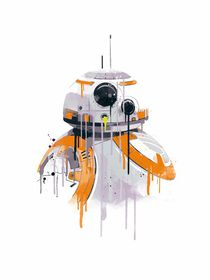 BB8 robot watercolor style art print von Goldenplanet Prints