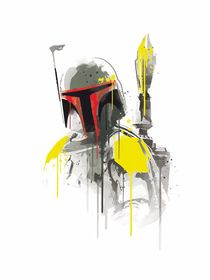 Boba fett watercolor style art print by Goldenplanet Prints