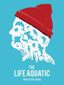 The life aquatic Steve Zissou face art movie inspired von Goldenplanet Prints