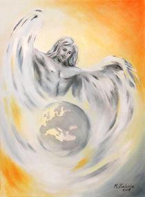 Schutzengel Weltfrieden - Erdenengel handgemalte Engelkunst von Marita Zacharias