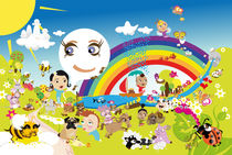 Kinderposter Regenbogen / children's poster rainbow von sucre-fineart