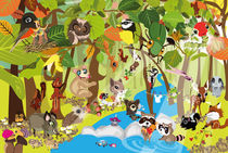 Kinderposter Tiere im Wald / children's poster animals in the forest von sucre-fineart