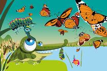 Kinderposter Liebes Krokodil mit Schmetterlingen / children's poster lovely crocodile with butterflies von sucre-fineart