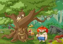 Dagda und der Baumgeist im Wald by Miguel Fernando Egaña Silva