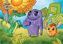 Drei freundliche Drachen-Monster by Miguel Fernando Egaña Silva