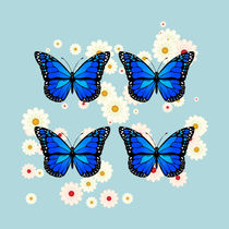 Four blue butterflies by Gaspar Avila