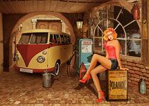 Pin Up Girl in nostalgischer Werkstatt von Monika Juengling