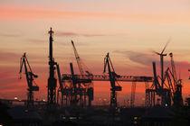 Hamburger Hafen bei Abenddämmerung von Torsten Krüger