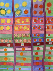 Colorful Grid Pattern with Numerous Circles   von Heidi  Capitaine