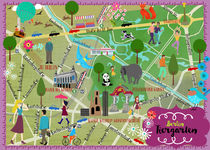Berlin Tiergarten Map von Elisandra Sevenstar