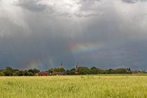 Regenbogen über einem Dorf in Ostfriesland