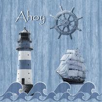 Ahoy - Maritime Blue mit Leuchtturm und Segelschiff von Monika Juengling
