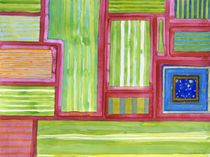 Green Striped Fields with Blue Square  von Heidi  Capitaine