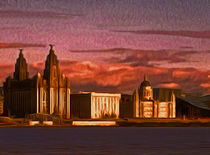 Liverpool Waterfront at Sunset (Digital Art) by John Wain
