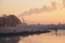 Weserufer in der Morgedämmerung mit Raureif , Bremen, Deutschland von Torsten Krüger