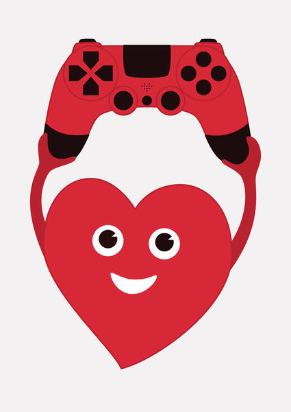 Heart-with-gamepad-poster-1-art-print