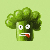Funny Cartoon Broccoli von Boriana Giormova
