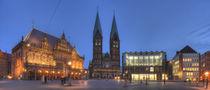 Altes Rathaus mit Dom St. Petri am Marktplatz bei Abenddämmerung, Bremen von Torsten Krüger