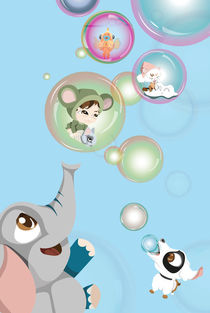 Kinderposter Elefant mit Seifenblasen/ children's poster elephant with bubbles by sucre-fineart