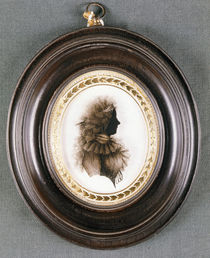 Silhouette of a lady, painted on convex glass von English School