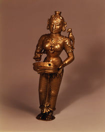 Lamp in the form of Goddess of Fortune by Indian School