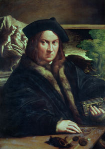 Portrait of a gentleman wearing a beret by Parmigianino