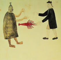 A Maori bartering a crayfish with an English naval officer by English School