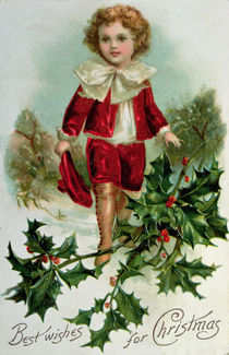 Victorian Christmas postcard depicting a boy in red in the snow by English School