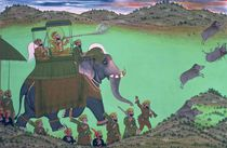 Maharana Sarup Singh of Udaipur shooting boar from elephant-back by Indian School