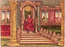 King Solomon on his throne by German School