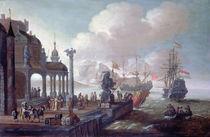 Mediterranean Harbour Scene by Johannes Lingelbach