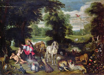Adam and Eve with God in the Garden of Eden and the story of the Fall von Jan Brueghel the Elder