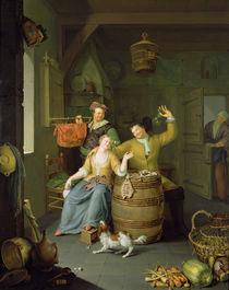 Interior with a couple celebrating von Frans van Mieris