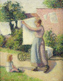 Woman Hanging up the Washing von Camille Pissarro
