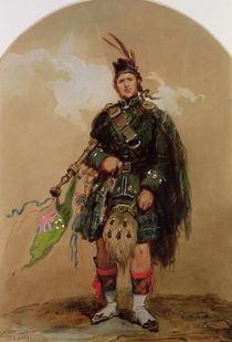 A Piper of the 79th Highlanders at Chobham Camp in 1853 von Eugene-Louis Lami