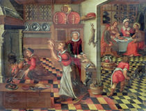 Interior of the Kitchen, the Supper at Emmaus by Flemish School