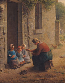 Feeding the Young, 1850 von Jean-Francois Millet