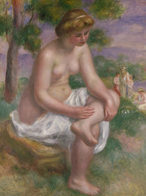 Seated Bather in a Landscape or by Pierre-Auguste Renoir
