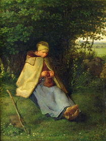 A Knitter or a Seated Shepherdess Knitting von Jean-Francois Millet