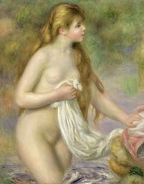 Bather with long hair, c.1895 by Pierre-Auguste Renoir