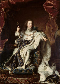 Portrait of Louis XV in Coronation Robes von Hyacinthe Francois Rigaud