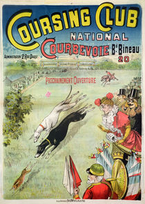 Poster advertising the opening of the Coursing Club at Courbevoie by French School