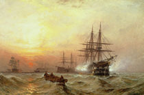 Man-o'-War firing a salute at sunset by Claude T. Stanfield Moore